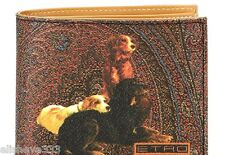 Etro Milano Italy Dog Themed Wallet Made in Italy Brown Paisley Multi-Color New