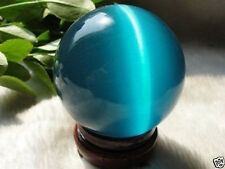 ASIAN QUARTZ BLUE CAT EYE CRYSTAL BALL SPHERE 40MM + STAND #7823