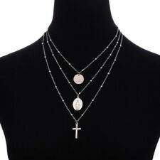 New Virgin Mary Necklace Rosary Cross Silver