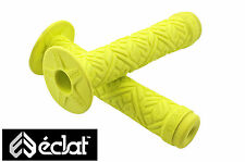 ECLAT TEAM HANDLEBAR GRIPS ELASTOMER SOFT RUBBER YELLOW WITH CORKX END PLUGS