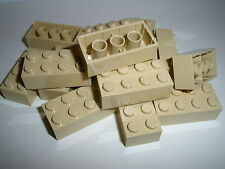 LEGO 15 Beige Building Bricks 2x4 nubs new