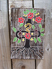 FairTrade Hand Made Wooden Christian Adam Eve Tree Of Knowledge Life Wall Plaque
