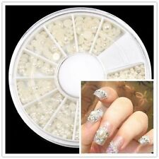 warehouse lots round Wheel Nail Art Decoration HALF FACE Pearl White Case HS78