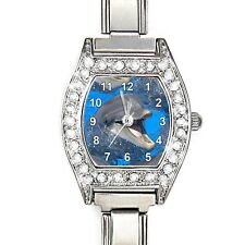 Dolphin Cubic Zirconia Womens Stainless Steel Italian Charms Wrist Watch  BJ1174