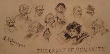1895 ANTIQUE VICTORIAN AMERICAN FOLK ART INK JERNEGAN CARICATURE ILLUSTRATION