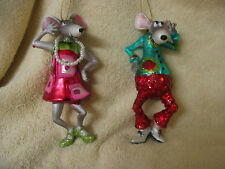 Mouse / Mice Pair Holiday Ornaments  - Disco Dancing 1960's Era Party Animals
