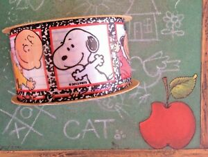 "Snoopy Charlie Brown Peanuts Ribbon Offray Back to School Pattern 1-1/2"" W 3 yds"