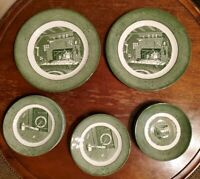 Vintage 1950s Colonial Homestead by Royal China Green cups saucers plates 17pcs