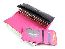 Señoras negras de patentes grandes Monedero Clutch Bag Concertina Estilo en caja de tarjeta de crédito