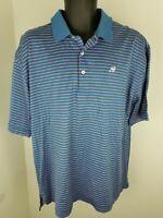 Men's Peter Millar Large Blue Pink Striped Polo Shirt 100% Cotton S/S Deer Logo