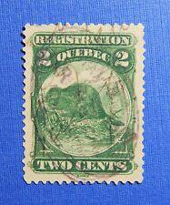 1870 2c CANADA QUEBEC REGISTRATION REVENUE VD # QR4 B # 4 USED PERF 12   CS32169