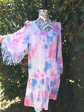 White Tie Dye Cutout shoulder dress 55 cm wide drop waist lace edge sleeve