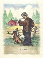 Watercolor of a Hitchhiking Man and Dog