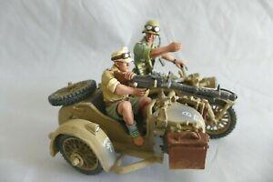 King & Country AK035 Afrika Korps Motorcycle combo Side car - Retired Sans boîte