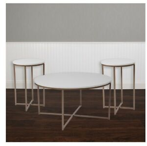 Flash Furniture 3 Piece Coffee and End Table Set in White with Matte Gold Frames
