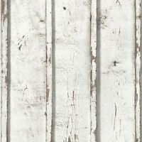 RUSTIC WOOD PLANKS WALLPAPER WHITE - AS CREATION 9537-01 - FEATURE WALL NEW