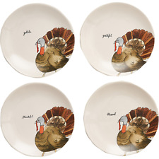 "Rae Dunn Turkey Thanksgiving Appetizer Plates - Set of 4, 8"" Brand New"