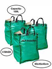✅New 3 x Garden Waste Bags 120L Refuse Heavy Duty Sacks Grass Leaves Rubbish Bag