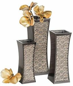 Nice Ornate French Country Style Set of 3 Resin Decor Vases