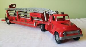 Early Tonka Toys Ford Cab M.F.D. AERIAL LADDER FIRE TRUCK 50's V RARE NICE