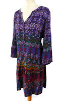 M&S Indigo Collection Size 20 3/4 Sleeve Smock Dress Purple Blue V Neck Summer