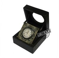 Halloween BLACK BOX WOODEN TABLE TOP CLOCK BRASS MADE ANALOG DIAL CLOCK ANTIQUE