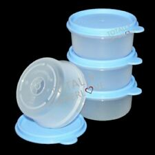 Tupperware Bowls Set of 4 Snack Cups 8 oz. with Blue Airtight Seals