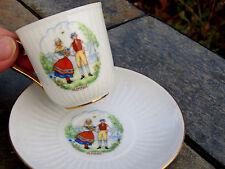 Antique ONE OF A KIND HACKEFORS Porslin SWEDEN Demitasse Cup & Saucer Boy Girl