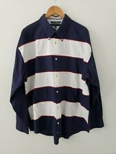Tommy Hilfiger Men's Vintage Red White Blue Button Front Shirt Long Sleeve XXL