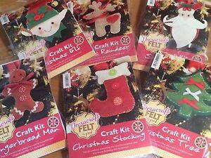 Christmas Felt Craft Kit- Reindeer, Tree, Gingerbread Man, Elf, Stocking, Santa