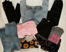 Girls Bundle X 9 NEW LOOK,RIVER ISLAND,NEXT,H&M Jeans,Shorts,Tops, Age 10,11,12