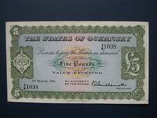 SCARCE 1965 GUERNSEY £5 BANKNOTE CRISP GVF