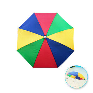 "Sun Protection Rainbow Beach Umbrella - Yellow Red Green Blue (68"" (34"" R))"