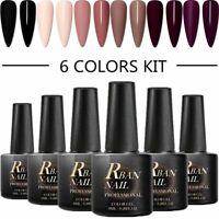 6 Colors UV Gel Nail Polish Set RBAN NAIL Soak Off Manicure Varnish DIY US STOCK