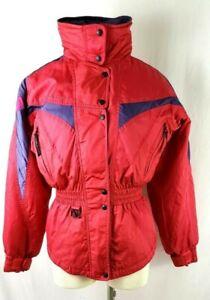Vintage Women Ski Jacket Rose size 6 Couloir Batwing Sleeve Hooded Warm Retro