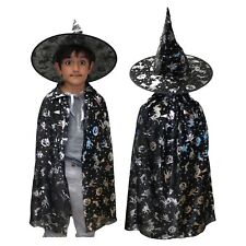 Boys / Girls / Kids Black Wizard Halloween Fancy Dress Costume (Hat & Cape)