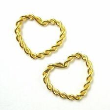 Gold Vermeil 925 Silver Twisted Heart Connector Ring- Gold Links- 12 mm (3 pcs)