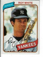 ROY WHITE 1980 TOPPS AUTOGRAPHED BASEBALL CARD 648 NEW YORK YANKEES