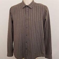 Ben Sherman Button Down Shirt Mens Size Large L Gray Striped Long Sleeve