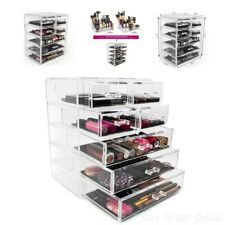 Beautify Extra Large Tiers Clear Acrylic Cosmetic Makeup Cube Organizer Storage