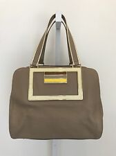 ANYA HINDMARCH COLLECTION CHIC LARGE TAUPE BOWLING STYLE HANDBAG GOLD PIPING