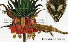 Liberia 2011 MNH Reptiles of Africa 4v M/S I Lizards Flowers Stamps