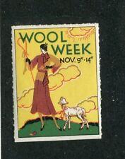 Vintage Poster Stamp Label Wool Week art deco shepherdess & lamb
