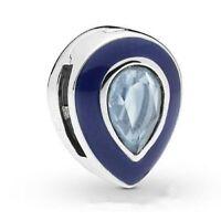 Charm Tropf Blau Lichtleiste Für Armband Reflexions Silber 925 Typ Pandora