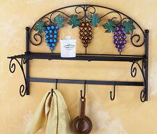 Vineyard Hanging Kitchen Shelf Grapevine Purple Grape Scroll Cutout Leaf Shelf