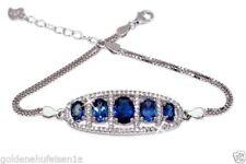 Armbänder mit Edelsteinen echten Blautopas aus Sterlingsilber für Damen