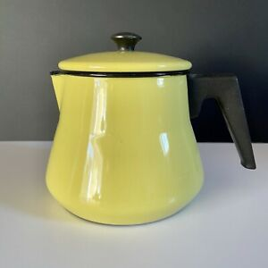 Retro Vintage Yellow Black Enamel Teapot