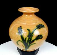 "STUDIO ART POTTERY WHEELTHROWN BOTANICAL PLANT LIFE RINGED 5 7/8"" VASE"