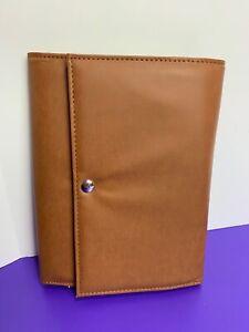 Jewelry Travel Case Brown Magnetic Closure Tri Fold Zipper Pockets Accessories
