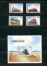 Sierra Leone 1986  #764-8  locomotives trains  set & sheet  MNH   E575